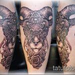 фото тату козел №304 - эксклюзивный вариант рисунка, который легко можно использовать для переделки и нанесения как тату череп козла