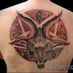 фото тату козел №685 - эксклюзивный вариант рисунка, который легко можно использовать для переработки и нанесения как тату козел и ножи атомы