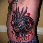 фото тату козел №546 - эксклюзивный вариант рисунка, который успешно можно использовать для переработки и нанесения как тату череп козла
