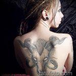 фото тату козел №325 - крутой вариант рисунка, который удачно можно использовать для доработки и нанесения как тату козел олдскул