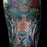 фото тату козел №408 - классный вариант рисунка, который удачно можно использовать для переработки и нанесения как тату козел олдскул