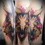 фото тату козел №604 - достойный вариант рисунка, который хорошо можно использовать для преобразования и нанесения как тату череп козла