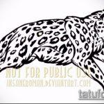 эскиз тату барс №812 - достойный вариант рисунка, который легко можно использовать для переделки и нанесения как тату барс на ноге