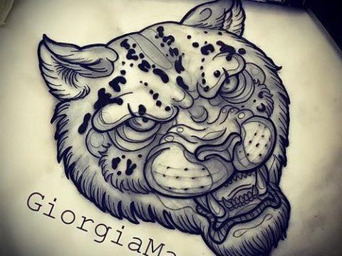 эскиз тату барс №160 - классный вариант рисунка, который удачно можно использовать для переработки и нанесения как тату барс на запястье