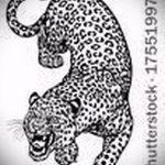 эскиз тату барс №816 - прикольный вариант рисунка, который хорошо можно использовать для преобразования и нанесения как тату барс на ноге