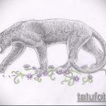 эскиз тату барс №581 - достойный вариант рисунка, который легко можно использовать для преобразования и нанесения как тату барс на ноге
