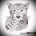 эскиз тату барс №581 - эксклюзивный вариант рисунка, который удачно можно использовать для переделки и нанесения как тату барс на животе