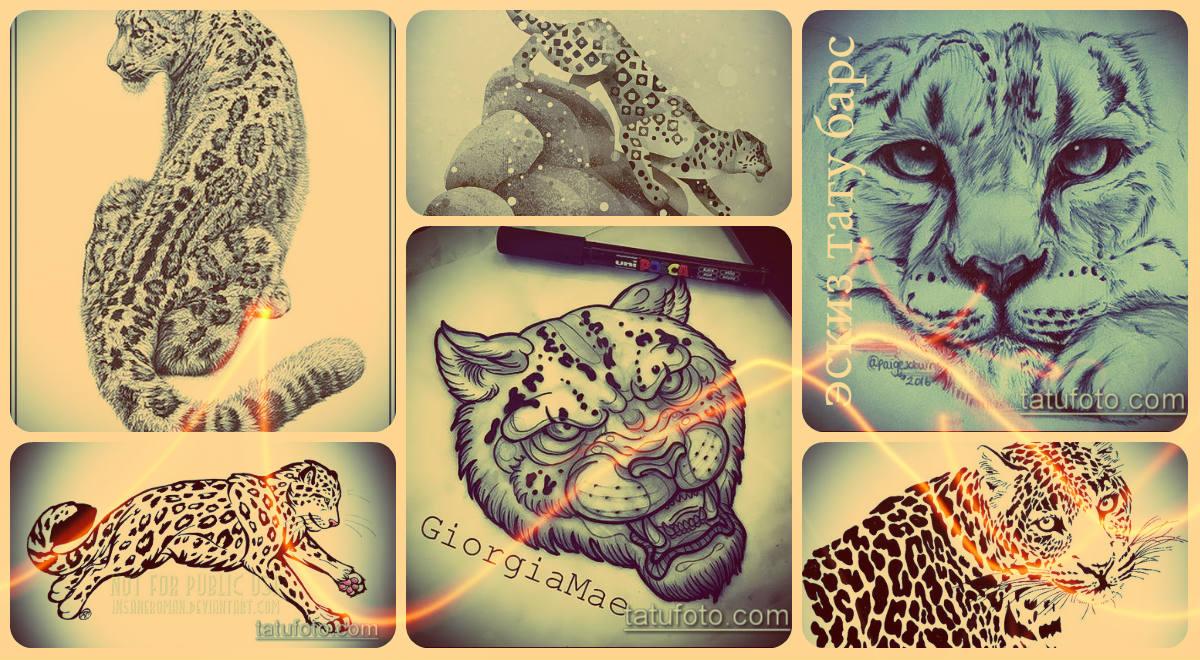 Эскизы тату барс - интересные рисунки для выбора и нанесения