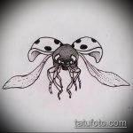 эскиз тату божья коровка №867 - прикольный вариант рисунка, который успешно можно использовать для доработки и нанесения как тату божья коровка черно белая