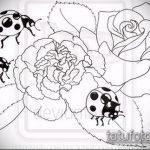 эскиз тату божья коровка №993 - крутой вариант рисунка, который хорошо можно использовать для доработки и нанесения как тату божья коровка фото на ноге