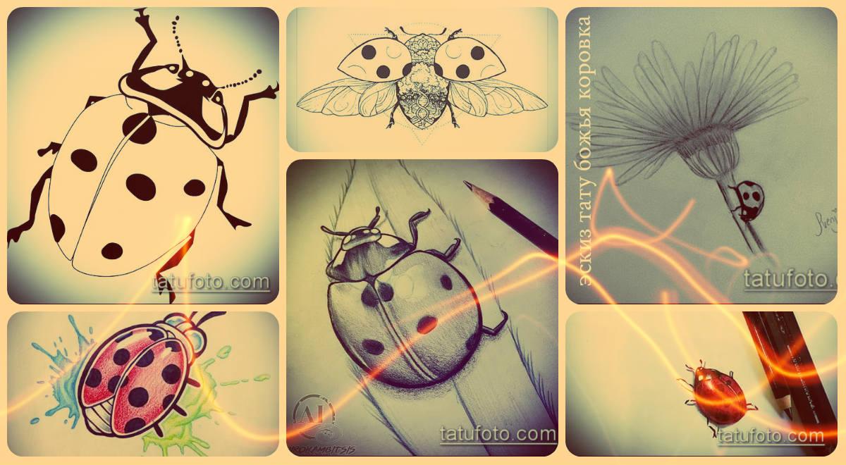 Эскизы тату божья коровка - интересные рисунки для выбора и нанесения