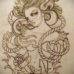 эскиз тату валькирия №885 - уникальный вариант рисунка, который хорошо можно использовать для переделки и нанесения как тату валькирия оберег