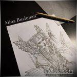 эскиз тату валькирия №354 - эксклюзивный вариант рисунка, который удачно можно использовать для переделки и нанесения как крылья валькирии тату