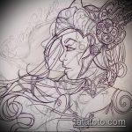 эскиз тату валькирия №348 - крутой вариант рисунка, который успешно можно использовать для доработки и нанесения как тату валькирия на спину