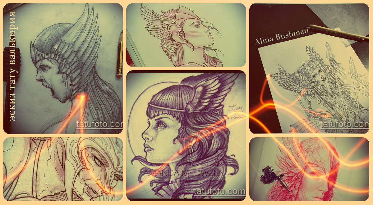 Эскизы тату валькирия - интересные рисунки для выбора и создания уникальной татуировки