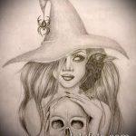 эскиз тату ведьма №721 - интересный вариант рисунка, который успешно можно использовать для переработки и нанесения как тату ведьма руны