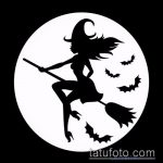 эскиз тату ведьма №269 - эксклюзивный вариант рисунка, который легко можно использовать для преобразования и нанесения как тату ведьма мультик