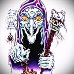 эскиз тату ведьма №114 - интересный вариант рисунка, который хорошо можно использовать для переработки и нанесения как тату ведьма на руке