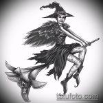 эскиз тату ведьма №223 - достойный вариант рисунка, который легко можно использовать для преобразования и нанесения как тату ведьмака на руке