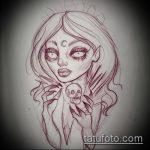 эскиз тату ведьма №121 - эксклюзивный вариант рисунка, который легко можно использовать для преобразования и нанесения как тату ведьма на метле лицом вперед