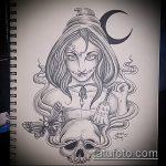 эскиз тату ведьма №196 - достойный вариант рисунка, который успешно можно использовать для доработки и нанесения как тату ведьма на руке