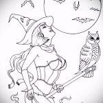 эскиз тату ведьма №913 - интересный вариант рисунка, который легко можно использовать для переделки и нанесения как тату ведьма руны