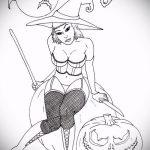 эскиз тату ведьма №419 - прикольный вариант рисунка, который удачно можно использовать для доработки и нанесения как тату ведьма на костре