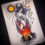 эскиз тату ведьма №697 - интересный вариант рисунка, который успешно можно использовать для доработки и нанесения как татуировка ведьма на метле
