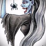 эскиз тату ведьма №683 - крутой вариант рисунка, который хорошо можно использовать для доработки и нанесения как тату ведьма инквизиция