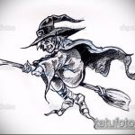 эскиз тату ведьма №911 - достойный вариант рисунка, который удачно можно использовать для переработки и нанесения как тату ведьма на руке