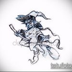 эскиз тату ведьма №995 - интересный вариант рисунка, который хорошо можно использовать для переделки и нанесения как тату ведьма на костре