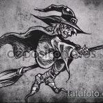 эскиз тату ведьма №727 - интересный вариант рисунка, который успешно можно использовать для преобразования и нанесения как тату ведьма в короне