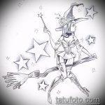 эскиз тату ведьма №135 - уникальный вариант рисунка, который хорошо можно использовать для доработки и нанесения как тату ведьма на метле