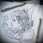 эскиз тату ведьма №467 - классный вариант рисунка, который легко можно использовать для переделки и нанесения как тату ведьма руны