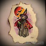 эскиз тату ведьма №815 - эксклюзивный вариант рисунка, который хорошо можно использовать для переработки и нанесения как татуировка ведьма на метле