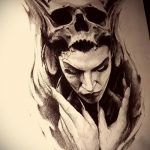 эскиз тату ведьма №216 - крутой вариант рисунка, который легко можно использовать для преобразования и нанесения как тату ведьма на руке
