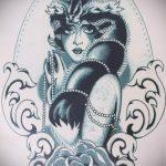 эскиз тату волчица №323 - классный вариант рисунка, который удачно можно использовать для доработки и нанесения как тату волчица воет на луну