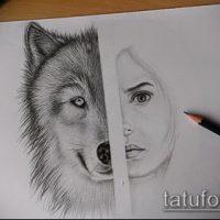 Эскизы тату волчица