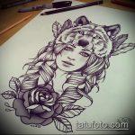 эскиз тату волчица №923 - прикольный вариант рисунка, который хорошо можно использовать для преобразования и нанесения как тату волчица на ноге у девушки