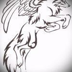 эскиз тату волчица №777 - крутой вариант рисунка, который хорошо можно использовать для переделки и нанесения как тату волчица на девушке