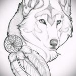 эскиз тату волчица №58 - крутой вариант рисунка, который легко можно использовать для доработки и нанесения как тату волчица и пряности