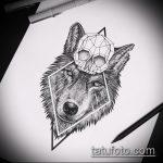эскиз тату волчица №925 - крутой вариант рисунка, который удачно можно использовать для переделки и нанесения как тату волчица и пряности