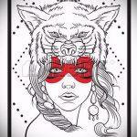 эскиз тату волчица №667 - интересный вариант рисунка, который легко можно использовать для преобразования и нанесения как тату волчица геометрия
