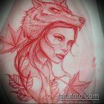эскиз тату волчица №742 - эксклюзивный вариант рисунка, который легко можно использовать для преобразования и нанесения как тату волчица на ноге