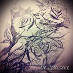 эскиз тату воробей №440 - классный вариант рисунка, который удачно можно использовать для переделки и нанесения как тату воробей на ветке