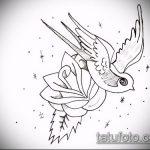 эскиз тату воробей №460 - достойный вариант рисунка, который успешно можно использовать для переделки и нанесения как тату птица с цветами