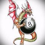 эскиз тату восемь №382 - крутой вариант рисунка, который удачно можно использовать для доработки и нанесения как tattoo 8 ball