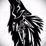 эскиз тату воющий волк №68 - интересный вариант рисунка, который легко можно использовать для преобразования и нанесения как волк воет на луну тату