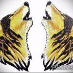 эскиз тату воющий волк №531 - эксклюзивный вариант рисунка, который успешно можно использовать для переделки и нанесения как волк воющий тату