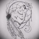 эскиз тату воющий волк №608 - прикольный вариант рисунка, который хорошо можно использовать для преобразования и нанесения как тату воющий волк мультфильм